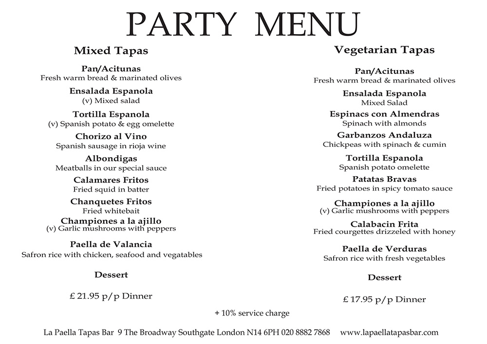 spanish tapas party menu