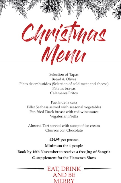 christmas 2018 la paella tapas bar southgate menu